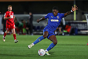 AFC Wimbledon attacker Michael Folivi (17) dribbling during the Leasing.com EFL Trophy match between AFC Wimbledon and Leyton Orient at the Cherry Red Records Stadium, Kingston, England on 8 October 2019.