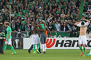 Brothers Saint-Etienne Defender Florentin Pogba and Paul Pogba Midfielder of Manchester United put arms round each other and embrace during the Europa League match between Saint-Etienne and Manchester United at Stade Geoffroy Guichard, Saint-Etienne, France on 22 February 2017. Photo by Phil Duncan.