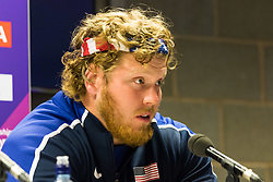 London, 03 August 2017. Ryan Crouser, 2016 Olympic shot put champion & 2017 world leader at Team USATF press conference ahead of the IAAF World Championships London 2017 at the London Stadium.