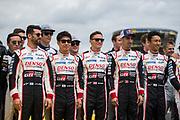 Jose Maria Lopez, Kamui kobayashi, Mike Conway, Sébastien Buemi, Kazuki Nakajima<br /> TOYOTA GAZOO  Racing. <br /> Le Mans 24 Hours Race, 11th to 17th June 2018<br /> Circuit de la Sarthe, Le Mans, France.