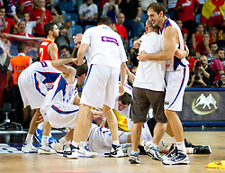 Players of Serbia celebrate after  the quarter-final basketball match between National teams of Serbia and Spain at 2010 FIBA World Championships on September 8, 2010 at the Sinan Erdem Dome in Istanbul, Turkey. Serbia defeated Spain 92 - 89.  (Photo By Vid Ponikvar / Sportida.com)