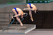Celine Van Duijn of the Netherlands and Inge Jansen of the Netherlands in the Women's Syncronised 3m dive during the FINA/CNSG Diving World Series 2019 at London Aquatics Centre, London, United Kingdom on 17 May 2019.