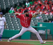 July 19, 2017 Sugarland, Texas: Lancaster Barnstormers Bryan Evans (20) make a pitch in a 3-1 victory oner the Sugarland Skeeters. (Photo By: Jerome Hicks/ Space City Images)