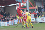 Accrington Stanley midfielder Sean McConville (11) wins a header during the EFL Sky Bet League 1 match between Accrington Stanley and Fleetwood Town at the Fraser Eagle Stadium, Accrington, England on 30 March 2019.