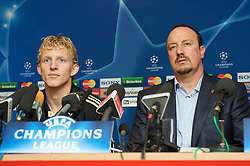 LIVERPOOL, ENGLAND - Monday, November 3, 2008: Liverpool's Dirk Kuyt and manager Rafael Benitez during a press conference at Anfield ahead of the UEFA Champions League Group D match against Club Atletico de Madrid. (Photo by David Rawcliffe/Propaganda)