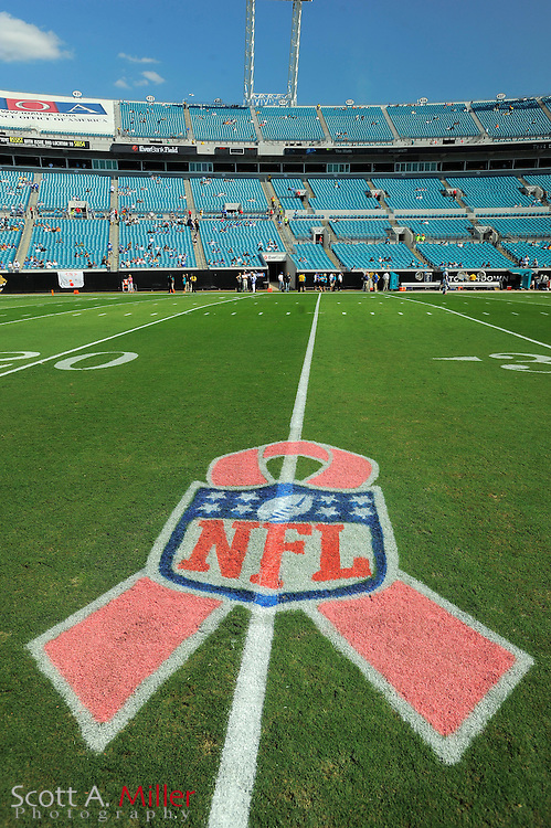 Oct. 3, 2010; Jacksonvile, FL, USA; NFL logos are wrapped with pink ribbon honoring Breast Cancer Awareness prior to the Jacksonville Jaguars game against the Indianapolis Colts at the EverBank Field. ©2010 Scott A. Miller