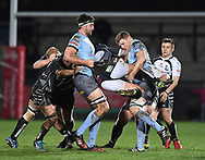 Jake Thomas of Pontypridd gets stopped in his tracks<br /> <br /> Photographer Mike Jones/Replay Images<br /> <br /> Principality Premiership - Neath v Pontypridd - Friday 16th March 2018 - The Gnoll Neath<br /> <br /> World Copyright &copy; Replay Images . All rights reserved. info@replayimages.co.uk - http://replayimages.co.uk