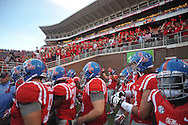 Ole Miss takes the field wearing the powder blue helmets against Memphis, at Vaught-Hemingway Stadium in Oxford, Miss. on Saturday, September 27, 2014. Ole Miss won 24-3.