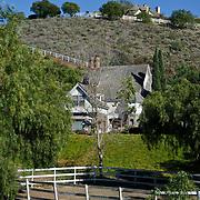 Farm house with white fence. Santa Rosa, CA. USA.