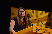 © Licensed to London News Pictures. 26/09/2012. Brighton, UK Jo Swinson MP delivers her speech at the Liberal Democrat Conference at the Brighton Centre in Brighton today 25th September 2012. Photo credit : Stephen Simpson/LNP