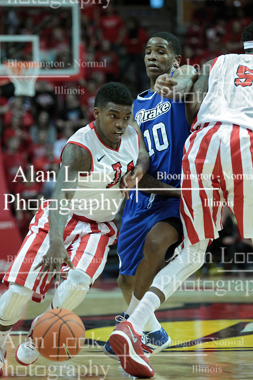 01 February 2014:  Bobby Hunter gets a screen on Trevor Berkeley from Jamaal Samuel during an NCAA Missouri Valley Conference (MVC) mens basketball game between the Drake Bulldogs and the Illinois State Redbirds  in Redbird Arena, Normal IL.