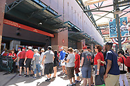 PHOENIX, AZ - APRIL 2:  Fans stand in line to enter Chase Field for the Opening Day game between the San Francisco Giants and Arizona Diamondbacks on Sunday, April 2, 2017 in Phoenix, Arizona. (Photo by Jennifer Stewart/MLB Photos via Getty Images) *** Local Caption ***
