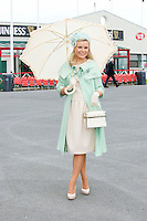 Ann Marie Blennerhassett Tralee finalist in the Anthony Ryan's Best Dressed ladies day at the Galway . Photo:Andrew Downes.Photo issued with Compliments, No reproduction fee on first use