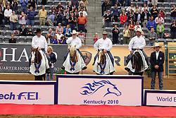 Podium Team Competition Reining winner team USA Mcquay Tim - Hollywoodstinseltown, Schmersal Craig - Mister Montana NIC, Mccutcheon Tom - Gunners Special Nite, Flarida Shawn - RC Fancy Step<br /> Alltech FEI World Equestrian Games <br /> Lexington - Kentucky 2010<br /> © Dirk Caremans