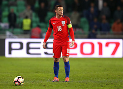 Wayne Rooney of England stands over the ball in preparation to take a free kick - Mandatory by-line: Robbie Stephenson/JMP - 11/10/2016 - FOOTBALL - RSC Stozice - Ljubljana, England - Slovenia v England - World Cup European Qualifier