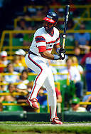 CHICAGO - UNDATED:  Harold Baines of the Chicago White Sox looks on during an MLB game at Comiskey Park in Chicago, Illinois.  Baines played for the White Sox from 1980-1989-1993, 1996-1997 and 2000-2001. (Photo by Ron Vesely)