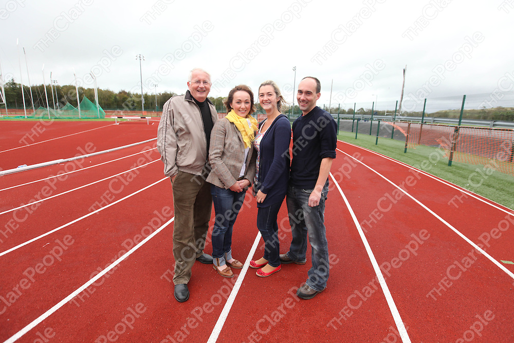 Tom Glynn, Sharon Malone, Clair Hahessy and Brian Spring pictured at the Launch of the Ennis Parish Schools Track and Field Finals at Lees Road on Friday.<br /> Pic. Brian Arthur/ Press 22.