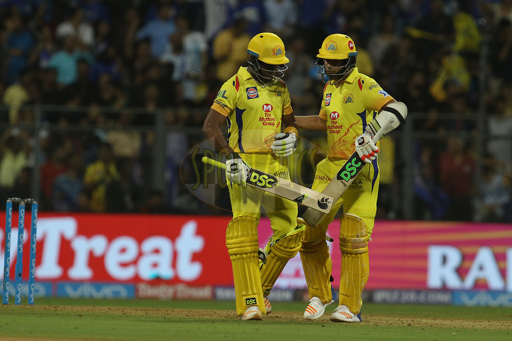 Deepak Chahar of the Chennai Superkings greets Dwayne Bravo of the Chennai Superkings  for his half century during match one of the Vivo Indian Premier League 2018 (IPL 2018) between the Mumbai Indians and the Chennai Super Kings held at the Wankhede Stadium in Mumbai on the 7th April 2018.<br /> <br /> Photo by Faheem Hussain / IPL / SPORTZPICS