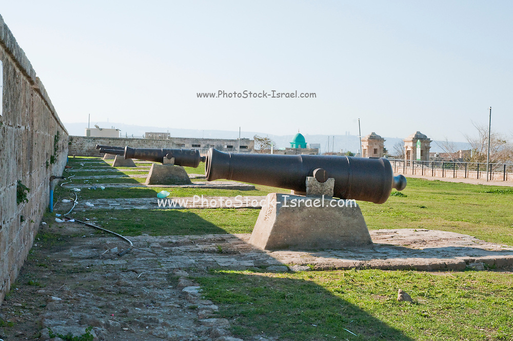 Israel, Western Galilee, Cannons on the fortified walls of the old City of Acre