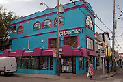 "The store ""Chandan"", catering to the Indian market, on Gerrard Street in Toronto's Indian Bazaar neighborhood."