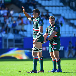 (L-R) Mike Williams of Leicester and Tom Youngs of Leicester await the restart during the European Rugby Champions Cup match between Racing 92 and Leicester Tigers on October 14, 2017 in Colombes, France. (Photo by Dave Winter/Icon Sport)