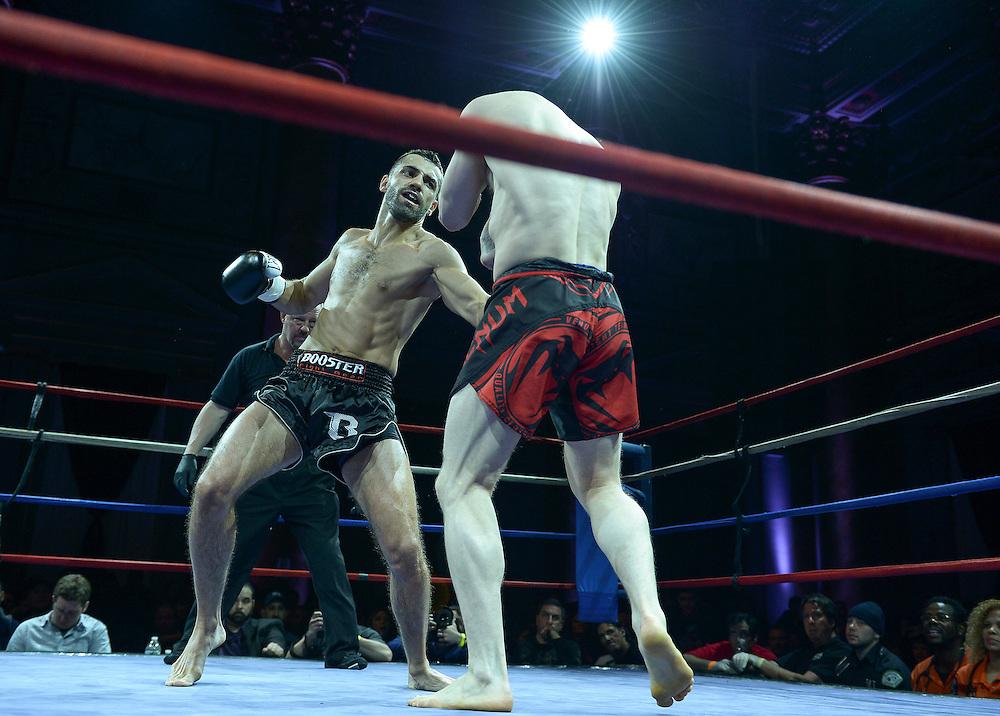 Friday, April 4, 2014, New York, NY: John Bowman(black/red shorts) Vs Niko Tsigaris(black shorts) at The Capitale Ballroom in Combat at The Capitale 32.