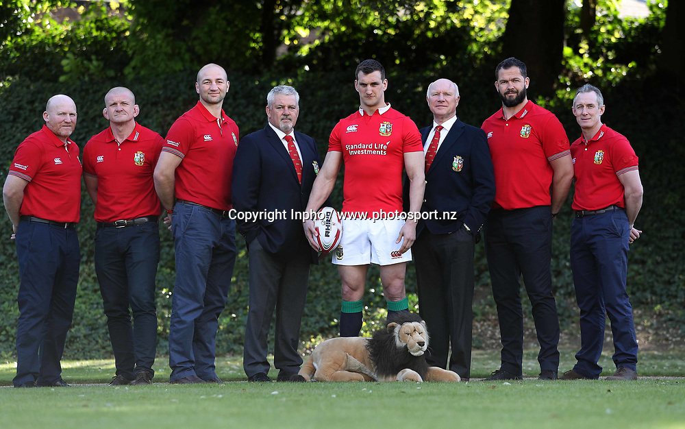 British &amp; Irish Lions Tour to New Zealand 2017<br />British &amp; Irish Lions Squad and Captain Announcement, Syon Park Hotel, London 19/4/2017<br />Pictured at today's announcement (L-R) Neil Jenkins (kicking coach), Graham Rowntree (scrum coach), Steve Borthwick (forwards coach), Warren Gatland (head coach), Sam Warburton (captain), John Spencer (manager), Andy Farrell (defence coach) and Rob Howley (backs coach)<br />Mandatory Credit &copy;INPHO/Billy Stickland / www.photosport.nz