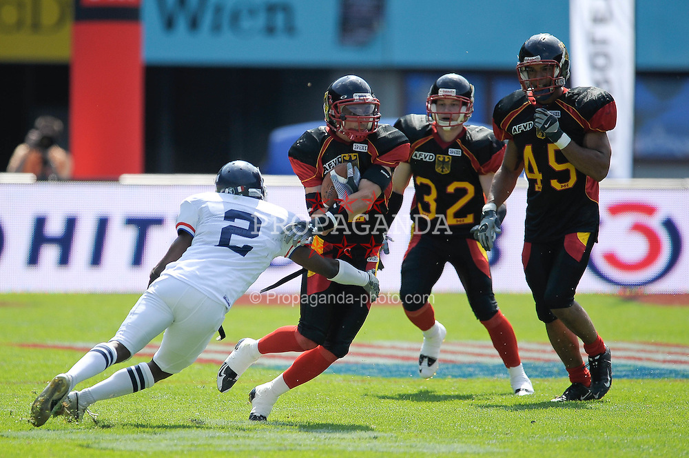 16.07.2011, Ernst Happel Stadion, Wien, AUT, American Football WM 2011, Germany (GER) vs France (FRA), im Bild Florent Cajazzo  (France, #2, DB ) vs Roman Solovij (Germany, #4, DB), Karl Michel (Germany, #32, DB), Rick Baunacke (Germany, #45, LB) // during the American Football World Championship 2011 game, Germany vs France, at Ernst Happel Stadion, Wien, 2011-07-16, EXPA Pictures © 2011, PhotoCredit: EXPA/ G. Holoubek