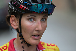 Lisa Brennauer (GER) of CANYON//SRAM Racing looks tired after Stage 5 of the Lotto Thuringen Ladies Tour - a 108.3 km road race, starting and finishing in Greiz on July 17, 2017, in Thuringen, Germany. (Photo by Balint Hamvas/Velofocus.com)