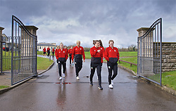CARDIFF, WALES - Thursday, April 4, 2019: Wales' L-R Kylie Nolan, Grace Horrell, Hayley Ladd an Chloe Lloyd during a pre-match team walk at the Vale Resort ahead of an International Friendly match between Wales and Czech Republic at Rodney Parade. (Pic by David Rawcliffe/Propaganda)