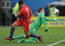 July 2, 2017 - Saint Petersburg, Russia - Marc-Andre Ter Stegen (R) of the Germany national football team and Alexis Sanchez of the Chile national football team vie for the ball during the 2017 FIFA Confederations Cup final match between Chile and Germany at Saint Petersburg Stadium on July 02, 2017 in St. Petersburg, Russia. (Credit Image: © Igor Russak/NurPhoto via ZUMA Press)