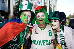 Slovenian fans waiting for the basketball match between Slovenia and Great Britain  before Arena Torwar at Eurobasket 2009, on September 07, 2009 in Warsaw, Poland. (Photo by Vid Ponikvar / Sportida)