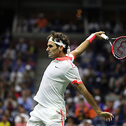 Roger Federer, Switzerland, in action against Novak Djokovic, Serbia, in the Men's Singles Final during the US Open Tennis Tournament, Flushing, New York, USA. 13th September 2015. Photo Tim Clayton
