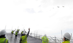 Carrier Fly past, Rosyth Royal Dockyard, 1-7-2016<br /> <br /> Crew wave to the planes as they fly past<br /> <br /> (c) David Wardle | Edinburgh Elite media