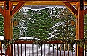 USA, Idaho, Valley County, Tamarack Lodge, Winter View from the Back Porch of a Cottage (Property release available)