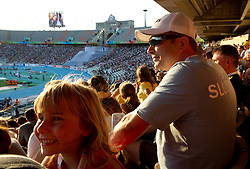 Olivija Kukovica and her father Peter Kukovica watching Snezana Rodic of Slovenia when she competes during the women's triple jump final at the 2010 European Athletics Championships at the Olympic Stadium in Barcelona on July 31, 2010.(Photo by Vid Ponikvar / Sportida)
