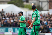 Kevin O'Brien of Ireland catches England captain Eoin Morgan during the One Day International match between England and Ireland at the Brightside County Ground, Bristol, United Kingdom on 5 May 2017. Photo by Andrew Lewis.
