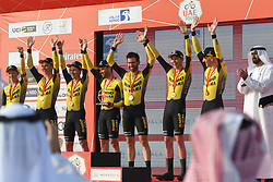February 24, 2019 - Abu Dhabi, United Arab Emirates - Members of Team Jumbo-Visma celebrate after winning the Team Time Trial, the opening ADNOC stage of the inaugural UAE Tour 2019..On Sunday, February 24, 2019, Abu Dhabi, United Arab Emirates. (Credit Image: © Artur Widak/NurPhoto via ZUMA Press)