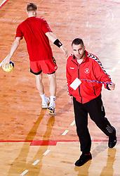 Head coach of Slovan Boris Denic during the 1/ 8 Men's European Handball Challenge Cup match between RD Slovan, Slovenia and Ystads IF, Sweden, on February 21, 2009 in Arena Kodeljevo, Ljubljana, Slovenia. Slovan defeated Ystads 37-27 and qualified to quarterfinals. (Photo by Vid Ponikvar / Sportida)