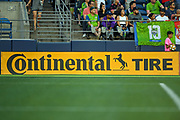 Continental Tire advertisement at CenturyLink Field during a MLS soccer match between the LA Galaxy and the Seattle Sounders on Saturday, September 1, 2019, in Seattle, Washington. (Alika Jenner/Image of Sport via AP)