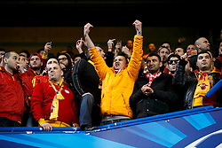 Galatasaray fans  gesture during the warm up - Photo mandatory by-line: Rogan Thomson/JMP - 18/03/2014 - SPORT - FOOTBALL - Stamford Bridge, London - Chelsea v Galatasaray - UEFA Champions League Round of 16 Second leg.