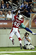 Arizona Cardinals rookie cornerback Jarell Carter (49) leaps and breaks up an end zone pass intended for Dallas Cowboys wide receiver Andy Jones (81) during the 2017 NFL Pro Football Hall of Fame preseason football game against the Arizona Cardinals on Thursday, Aug. 3, 2017 in Canton, Ohio. The Cowboys won the game 20-18. (©Paul Anthony Spinelli)