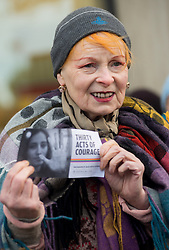 Vivienne Westwood takes part in a Greenpeace demonstration at the Shell centre in London, Thursday, 21st November 2013. Picture by Peter Kollanyi / i-Images