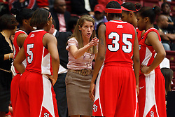 March 19, 2011; Stanford, CA, USA; St. John's Red Storm head coach Kim Barnes Arico talks to guard Shenneika Smith (35) during a time out against the Texas Tech Lady Raiders against the Texas Tech Lady Raiders during the first half of the first round of the 2011 NCAA women's basketball tournament at Maples Pavilion. St. John's defeated Texas Tech 55-50.