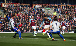 Dwight McNeil of Burnley (C) has a shot goal - Mandatory by-line: Jack Phillips/JMP - 13/04/2019 - FOOTBALL - Turf Moor - Burnley, England - Burnley v Cardiff City - English Premier League
