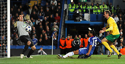 Chelsea`s Florent Malouda  scores his sides second goal  Chelsea vs MSK Zilina  for the  Uefa Champions Premier League, Group H,  at Stamford Bridge stadium in London on 23/11/2010. Picture By Rob Noyes  ©IPS   Photo Agency:21 Delisle Road  London SE28 0JD - Personal mobile: 07966 515 681