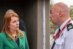 EMBARGOED UNTIL 00:01 24 April 2019<br />Pictured: Ash Denham discusses safety with Assistant Chief Fire Officer Ross Haggart<br /><br />Today, Community Safety minister Ash Denham launched the Scottish Government's consultation on Strengthening Fire Safety for High Rise Domestic Buildings following the Grenfell Tower fire in London.  Ms Denholm was joined by Assistant Chief Fire Officer Ross Haggart and Mark McHale, building manager of Wauchope House, <br /><br /><br />Ger Harley | EEm 23 April 2019