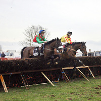 N. Kelleher on Graine's Girl and AJ. Walshe on Toberlownagh Lass jumped this one together at the Killaloe Point to Point on Sunday.<br /><br /><br /><br />Photograph by Yvonne Vaughan.