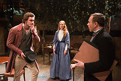 "© Licensed to London News Pictures. 21/11/2013. London, England. L-R: Tom Bateman as Dante Gabriel Rossetti, Emma West as Lizzie Siddal and Daniel Crossley as John Rushkin. World premiere of the play ""Lizzie Siddal"" at the Arcola Theatre, Hackney, London. The play tells the story of the woman who was 'Ophelia' in Millais' famous painting. Running from 20 November to 21 December 2013. With Emma West as Lizzie Siddal and Tom Bateman as Dante Gabriel Rossetti. Photo credit: Bettina Strenske/LNP"