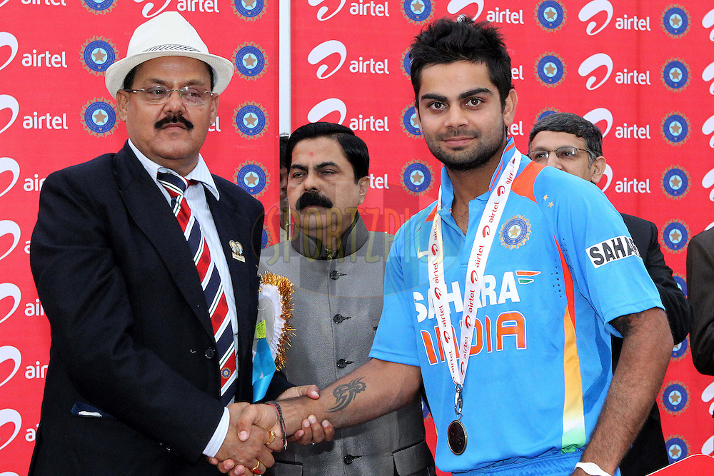 Virat Kholi, man of the match, during the 1st ODI (One Day International ) between India and New Zealand held at the Nehru Cricket Stadium in Guwahati, Assam, India on the 28th  November 2010..Photo by Ron Gaunt/BCCI/SPORTZPICS